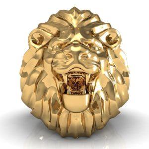 Кольцо мужское Лев