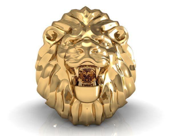 Кольцо мужское Лев 009